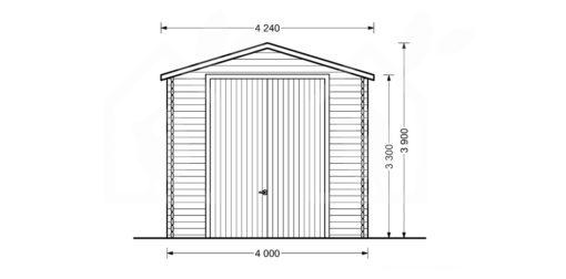 Aukštas garažas Camping 4m x 8m, 44mm, 32m² brėžinys iš priekio