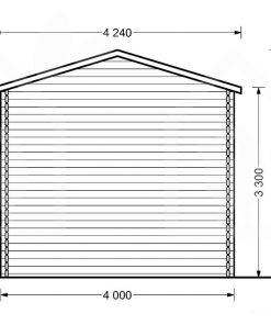 Aukštas garažas camping 4m x 8m, 44mm, 32m² brėžinys iš galo