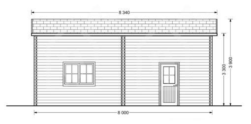 Aukštas garažas camping 4m x 8m, 44mm, 32m² brėžinys iš kito šono