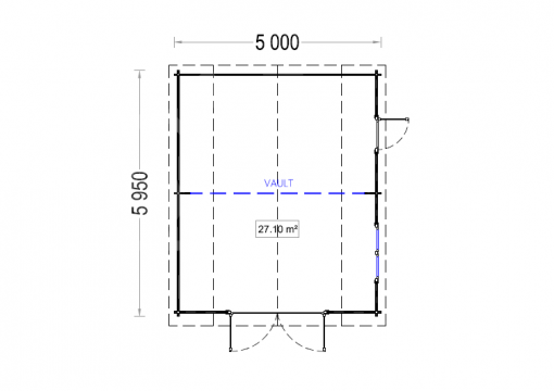 Medinis garažas Mississippi 30m² (5m x 6m), 44mm - Planas