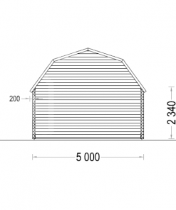 Medinis garažas Mississippi 30m² (5m x 6m), 44mm