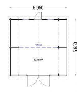 Išskirtinio dizaino garažas Texas 6m x 6m, 44mm 36 m²