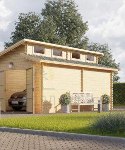 Viengubas garažas Twin 4m x 6m, 44mm 20,9m²