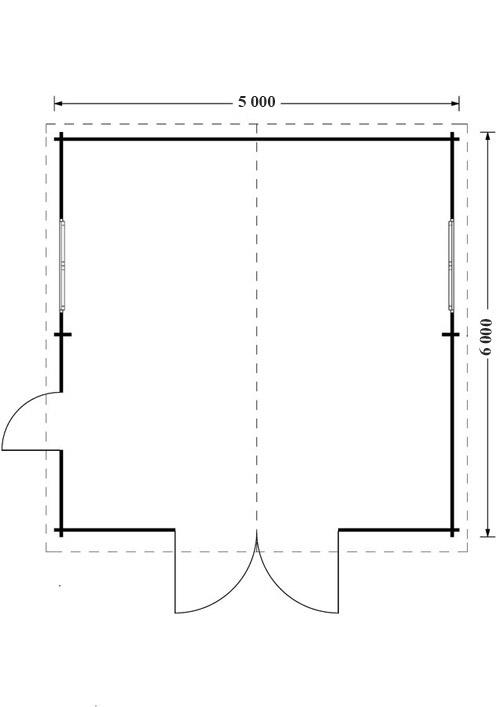 Garažas 30m² (5m x 6m), 44mm