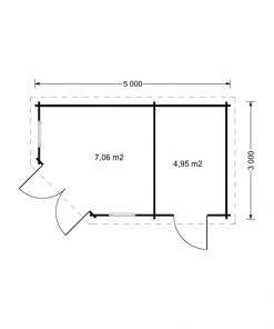 King 15 m2, 44 mm - Grindų planas