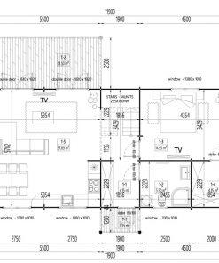 Rąstinis namas Versailles 98 m² - Grindų planas