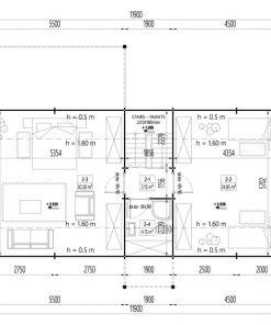 Rąstinis namas Versailles 98 m² - Grindų planas 2