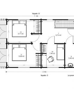 """2 aukštų medinis vasarnamis """"Toulouse"""" 5.85 m x 11.16 mdų planas 2"""