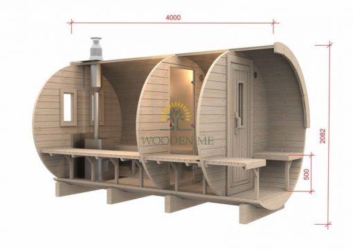 Pirtis bačka 4.0 m Ø 1.97 m (su 1m persirengimo kambariu)