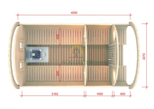 Pirtis bačka 4.0 m Ø 2.27 m (Su 1m persirengimo kambariu)