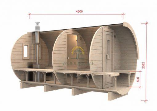 Pirtis bačka 4.5 m Ø 1.97 m (su 1.5m persirengimo kambariu)
