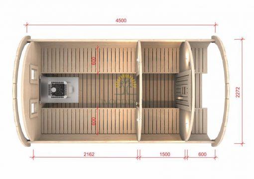 Pirtis bačka 4.5 m Ø 2.27 m (Su 1.5m persirengimo kambariu)