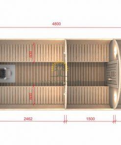 Pirtis bačka 4.8 m Ø 2.27 m (Su 1.5m persirengimo kambariu)