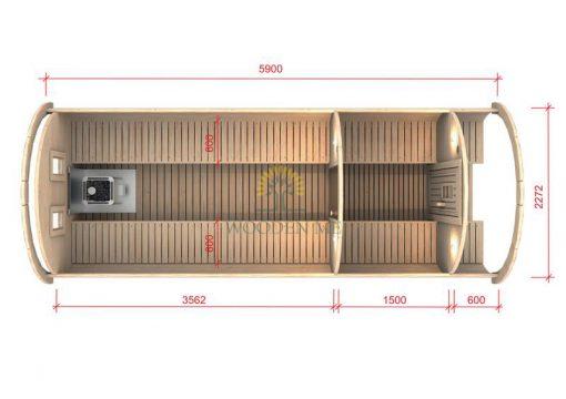 Pirtis bačka 5.9 m Ø 2.27 m (Su 1.5m persirengimo kambariu)