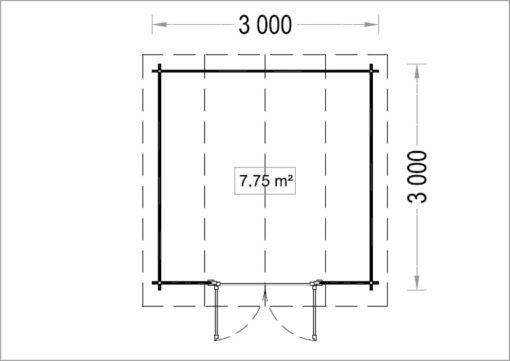 ORLANDO 9m² -Aukšto planas