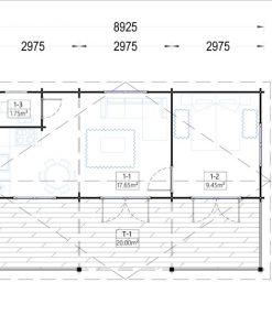 Rąstinis namas AMELIA 54 m² - Grindų planas