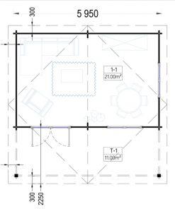 Rąstinis namas CAMILA 24m²- Grindų planas