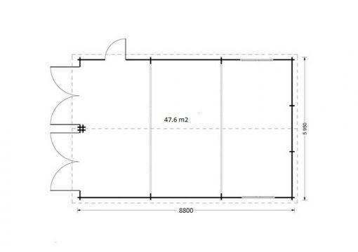Dvivietis medinis garažas 49.9m² - Plan