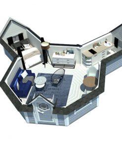 Kempingas namelis 16.5 m² su 2 prailginimu