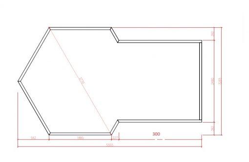 Namelis poilsiavietei 9.2 m² su prailginimu - PLANAS