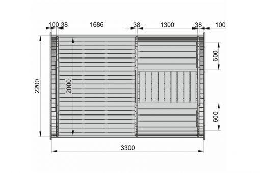"""Miegamasis namelis """"bačka"""" 3.3 m (Mini dydžio)- PLANAS"""