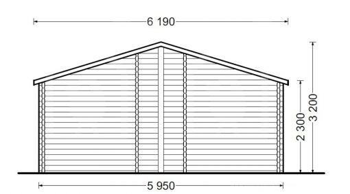 Medinis vasarnamis BOSTON 114 m² (6 m x 19 m), 66 mm - atgal
