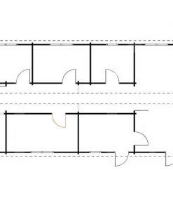 Medinis vasarnamis BOSTON 114 m² (6 m x 19 m), 66 mm - planas
