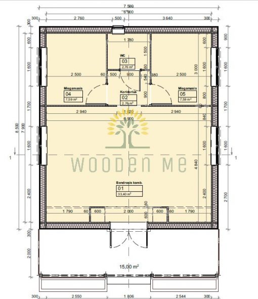 Medinis vasarnamis Petunia A 690 cm x 790 cm (54,5 m²)