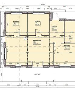 Medinis vasarnamis Tulipa A (74.1 m²) - Planas
