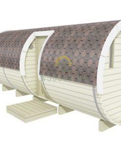 """Miegamasis namelis """"bačka"""" 2.2 x 5.4 m (su šoniniu įėjimu ir baldai)"""