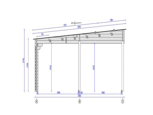 Tivoli plokščiu stogu - Dviviete stoginė su priestatu (5,95 m x 7.5m), 44mm